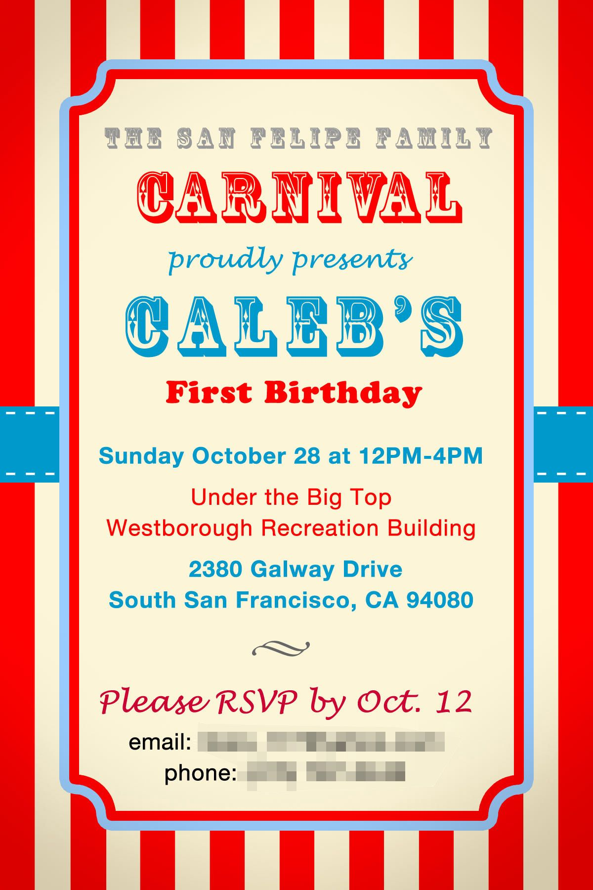circus invitation templates for school