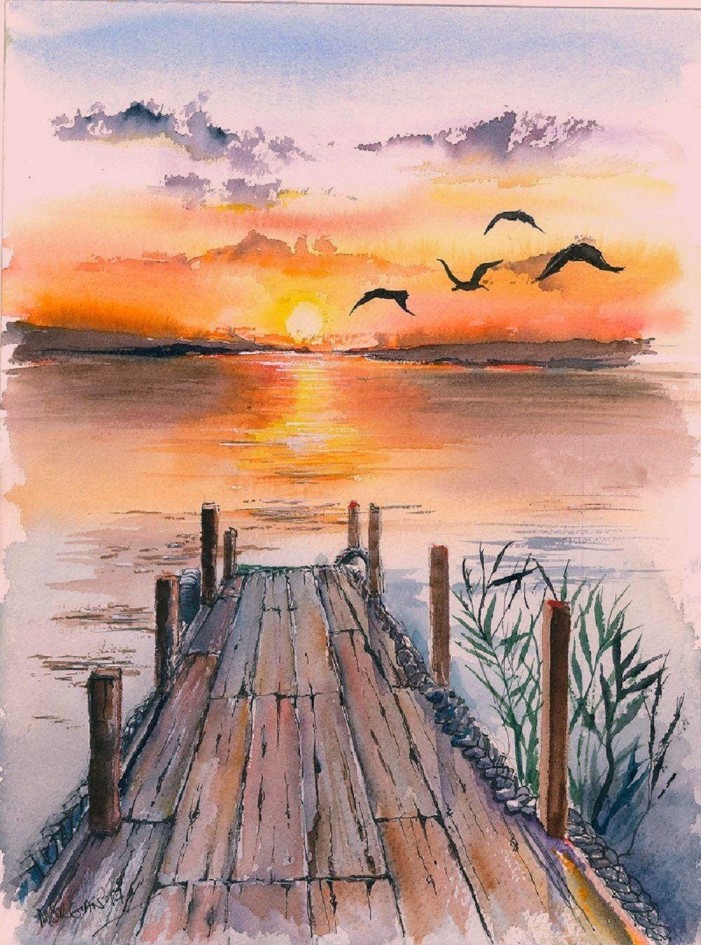 Sonnenuntergang See Aquarell Aquarell Sonnenuntergang In 2020