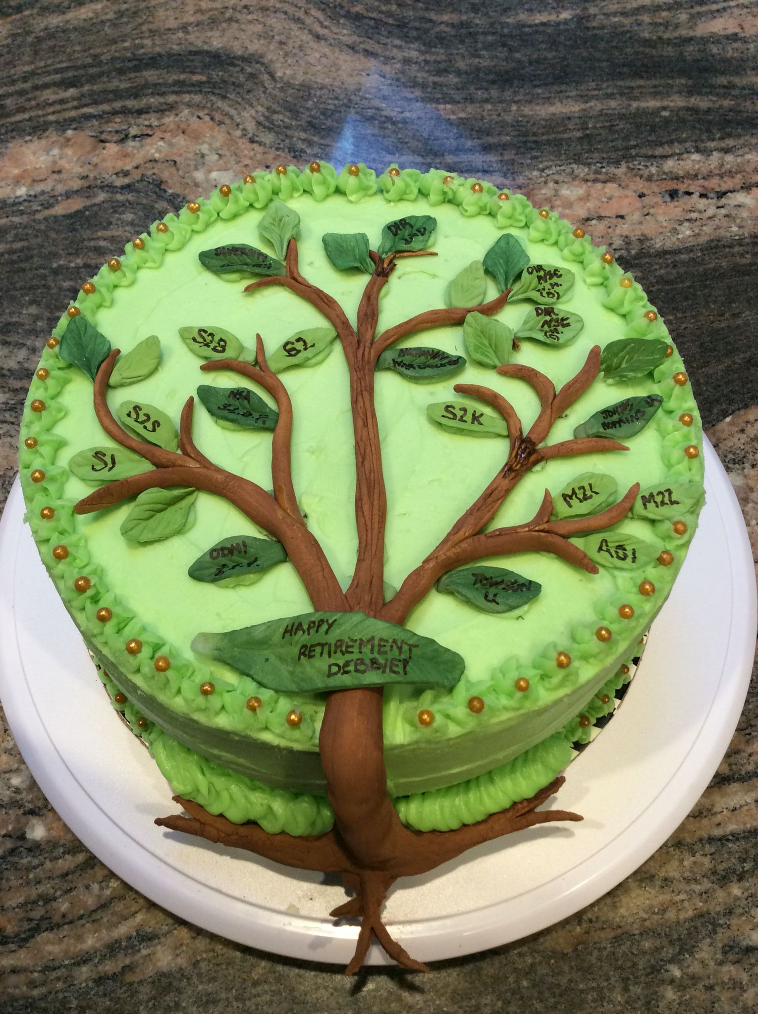 "Cake Decorating Career retirement cake with career ""family tree"" for an avid genealogist"