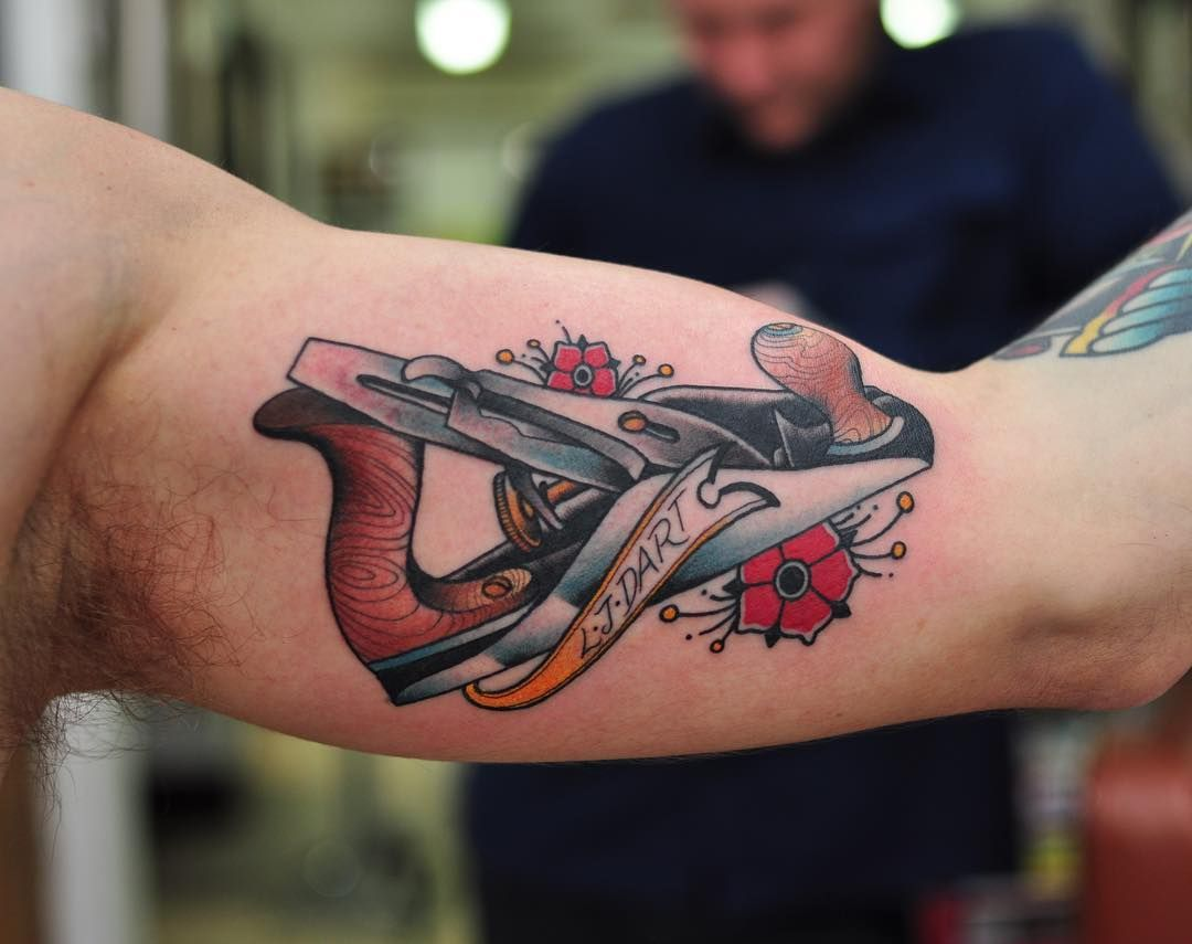 Stanley Hand Plane Tattoo By Wade Johnston As Always