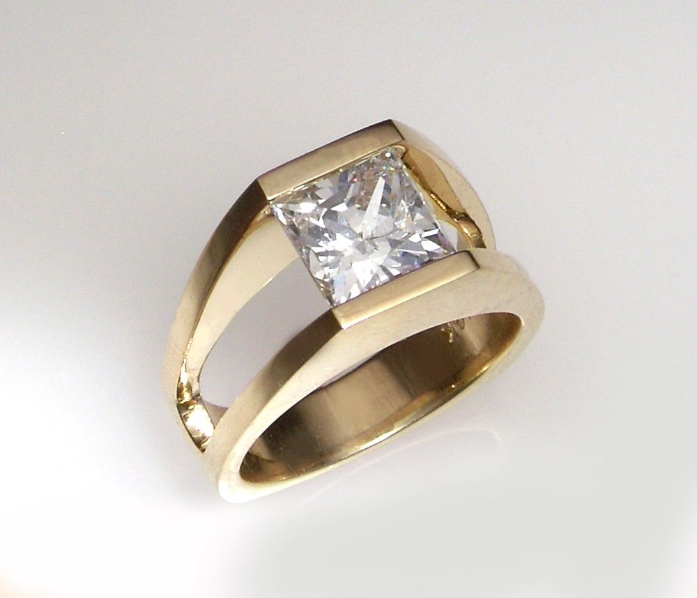 Tension Mount 14K Gold Ring w/ Princess by dougpetersonjewelers
