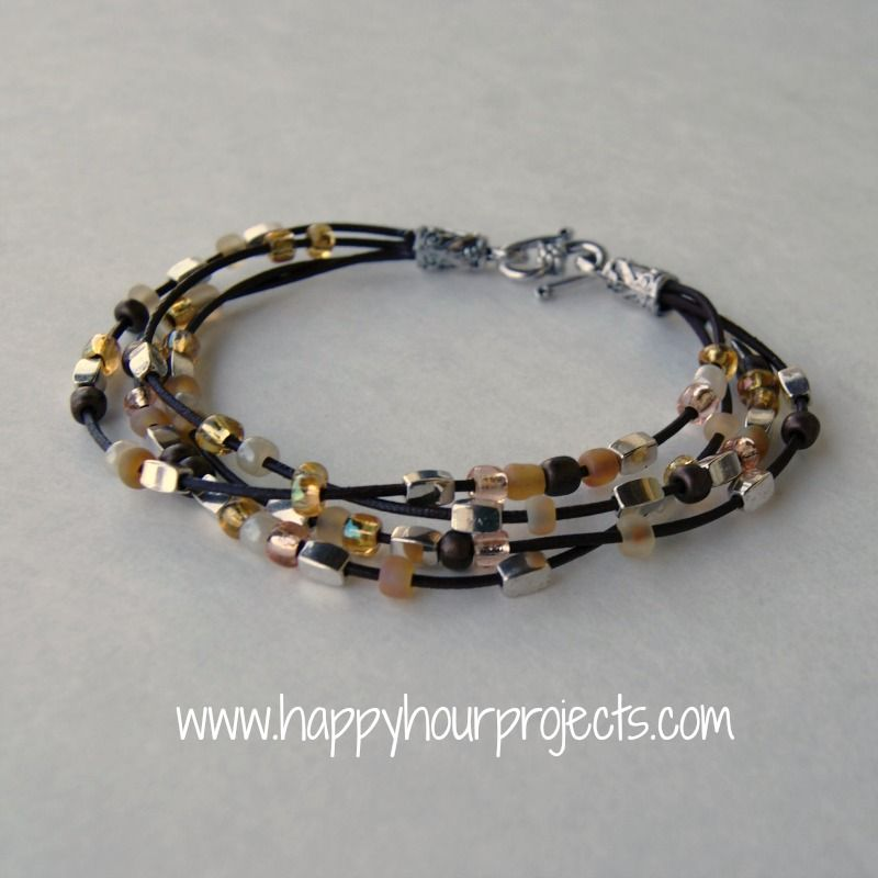 bead leather bracelet happy hour projects on the