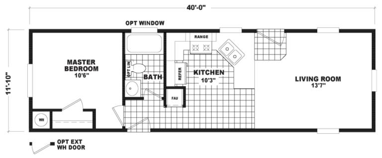 Salinas 12 X 40 466 sqft Mobile Home