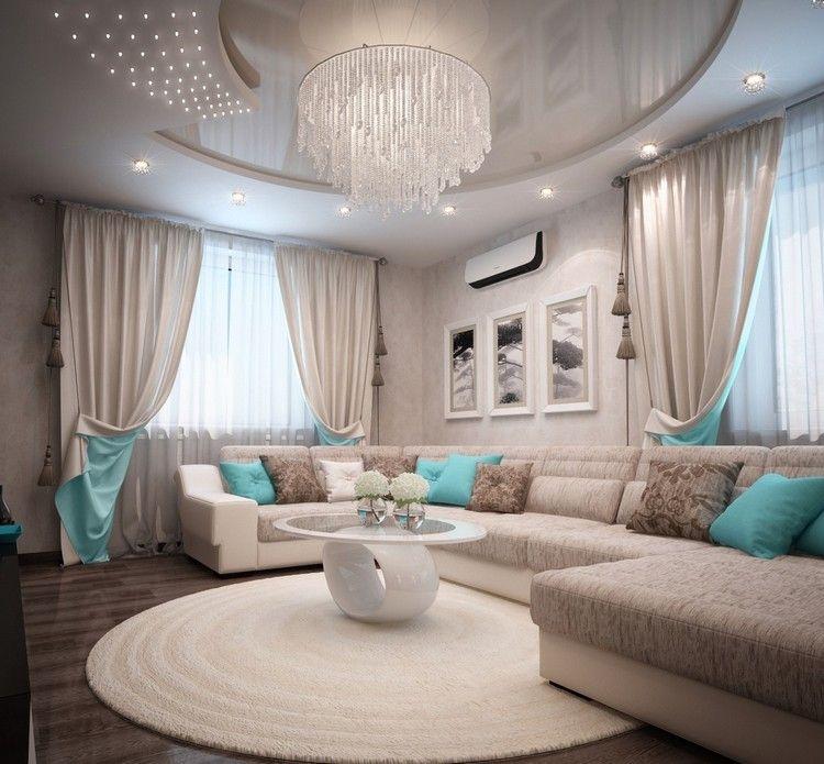 Wohnzimmer in Türkis beige-braun-großer-kronleuchter-kreative-decke