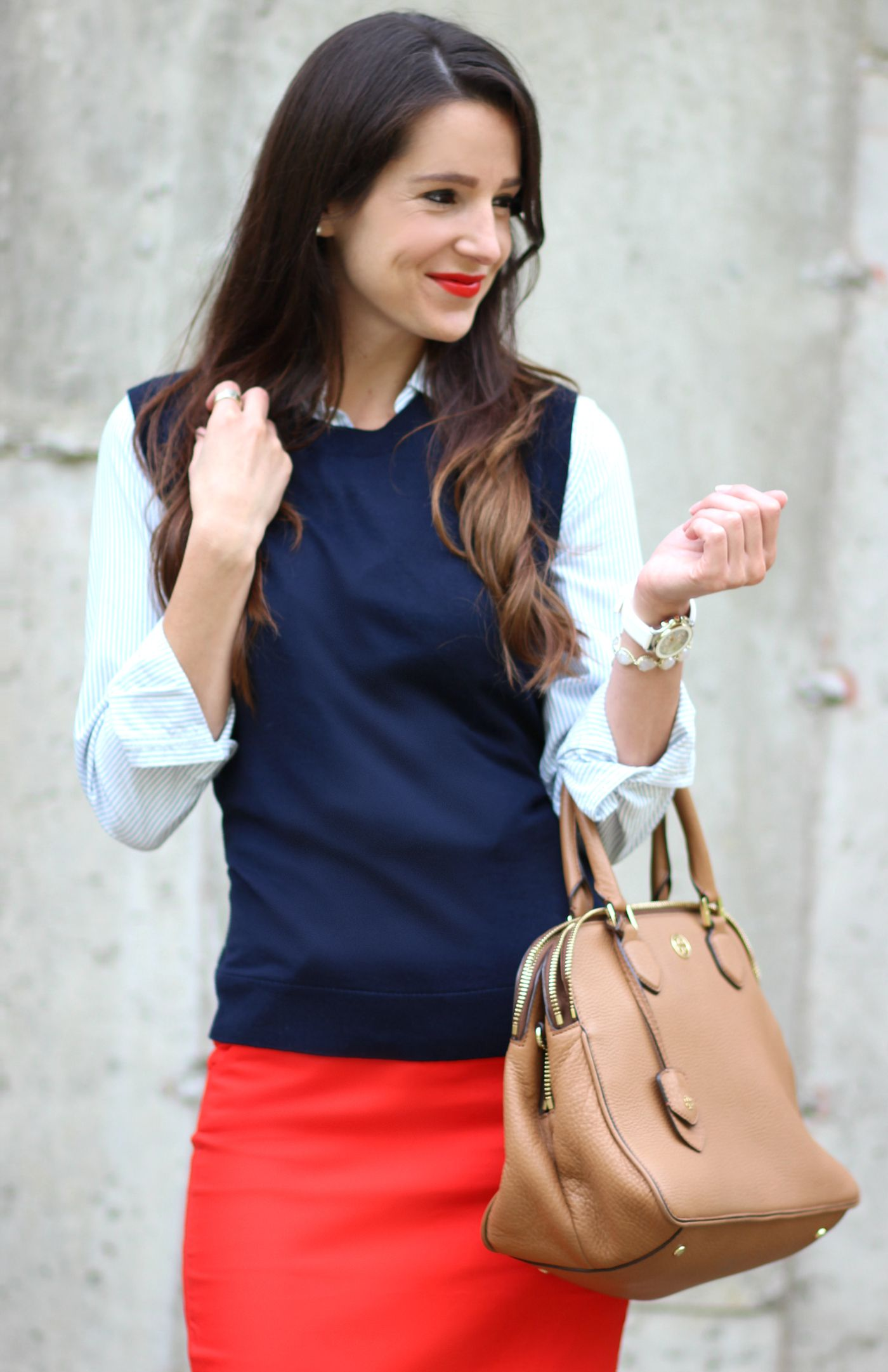 How to Make a Sweater Vest Look Chic | Red pencil, Navy sweaters ...