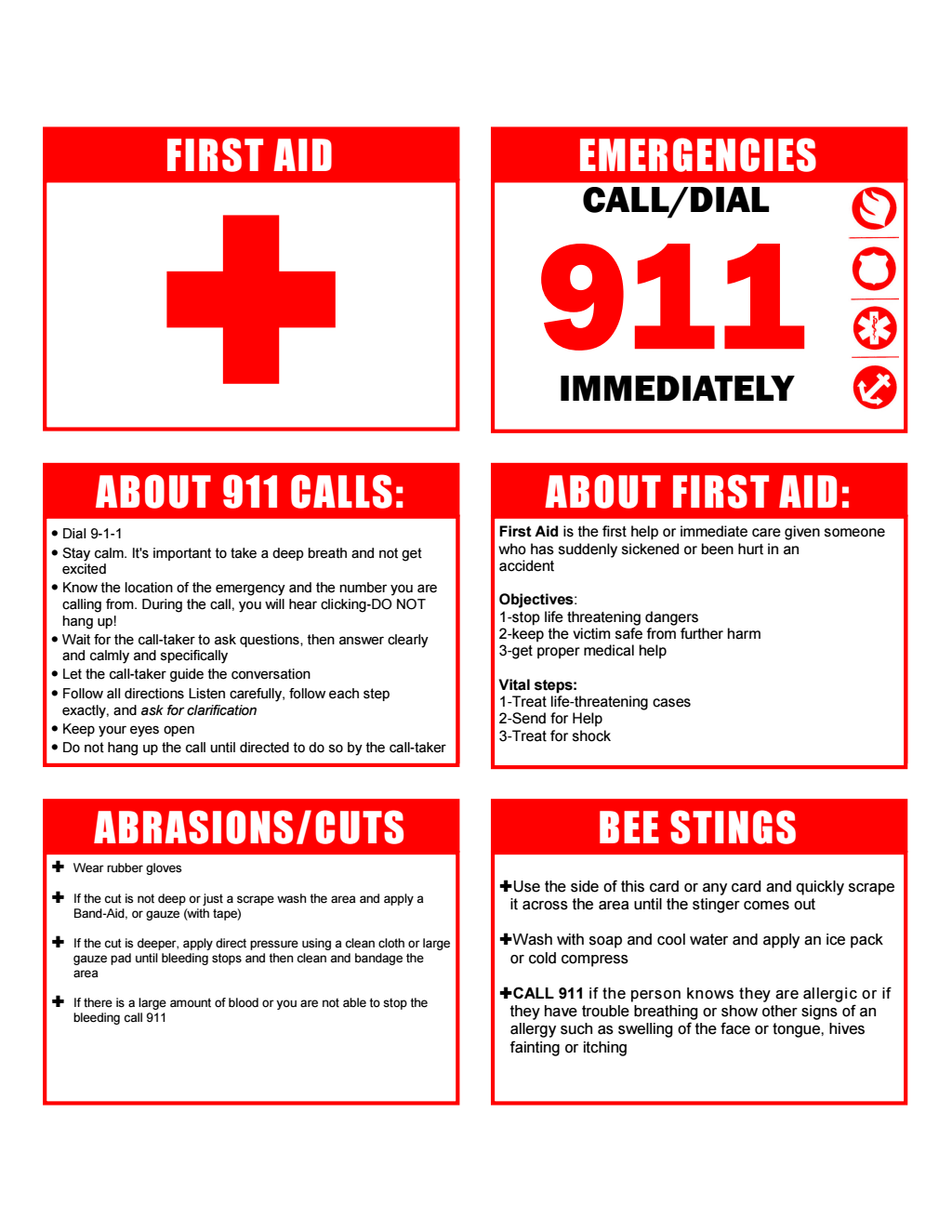 Firstaidcards Printable