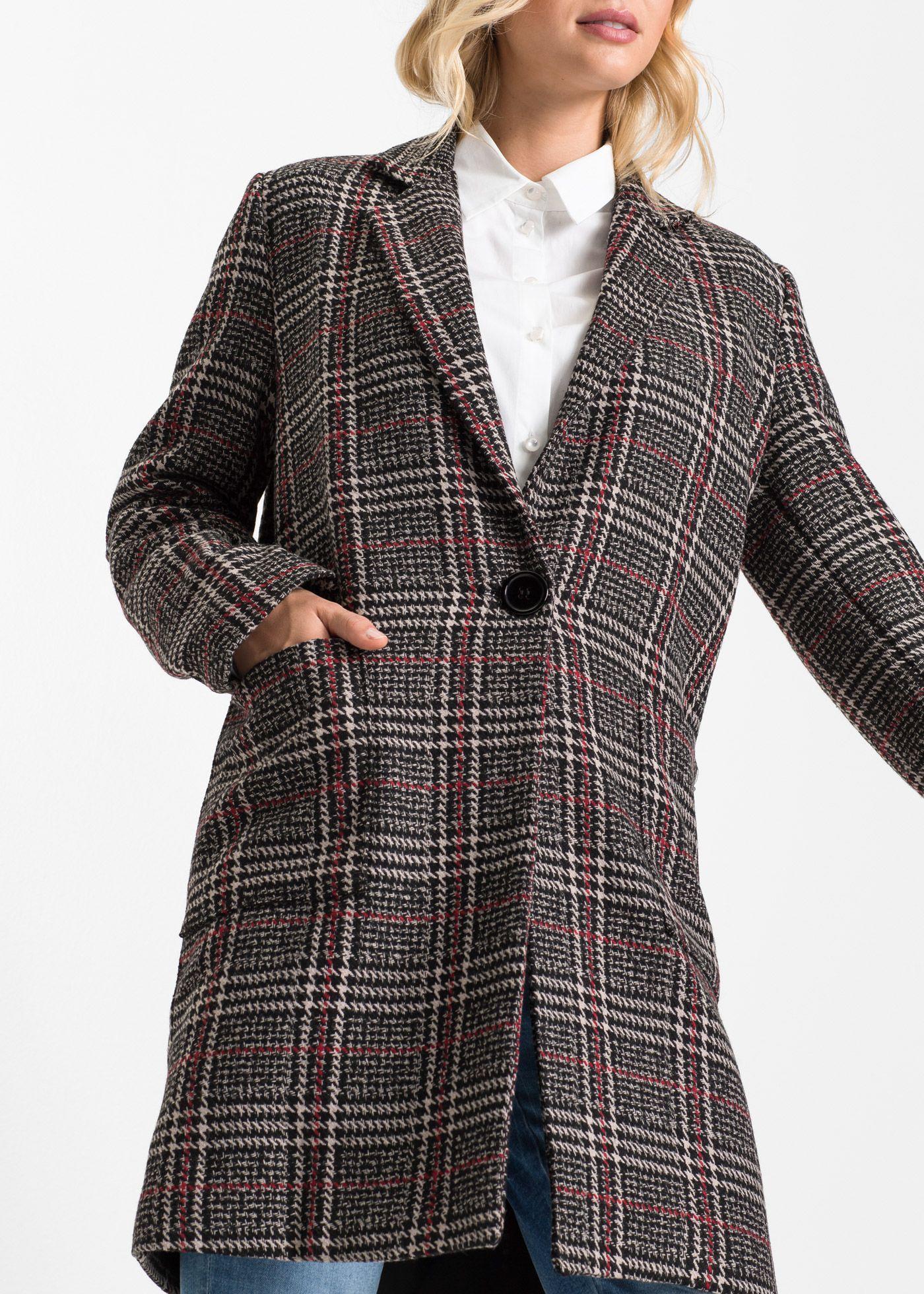 Cappotto in misto lana Grigio bianco rosso a quadri è