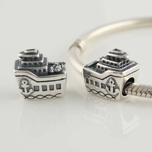 15663d016 Sterling Silver All Aboard Cruise Ship Travel Bead Fits Pandora Bracelet