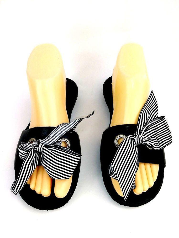 a3ef2478236 Okabashi Womens Sandals Size ML 8 9 Slides Flip Flops Black White Striped  Bow  Okabashi  FlipFlops