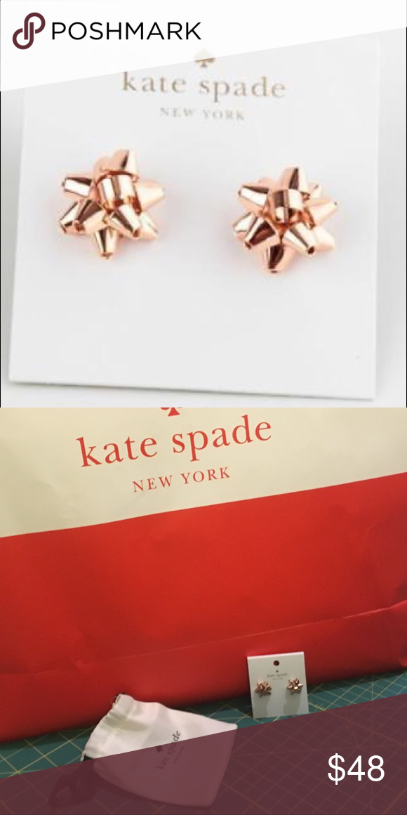 dec4bf9d555ea Kate Spade Bourgeois Bow Stud Earrings, Rose Gold Gift bow shaped ...