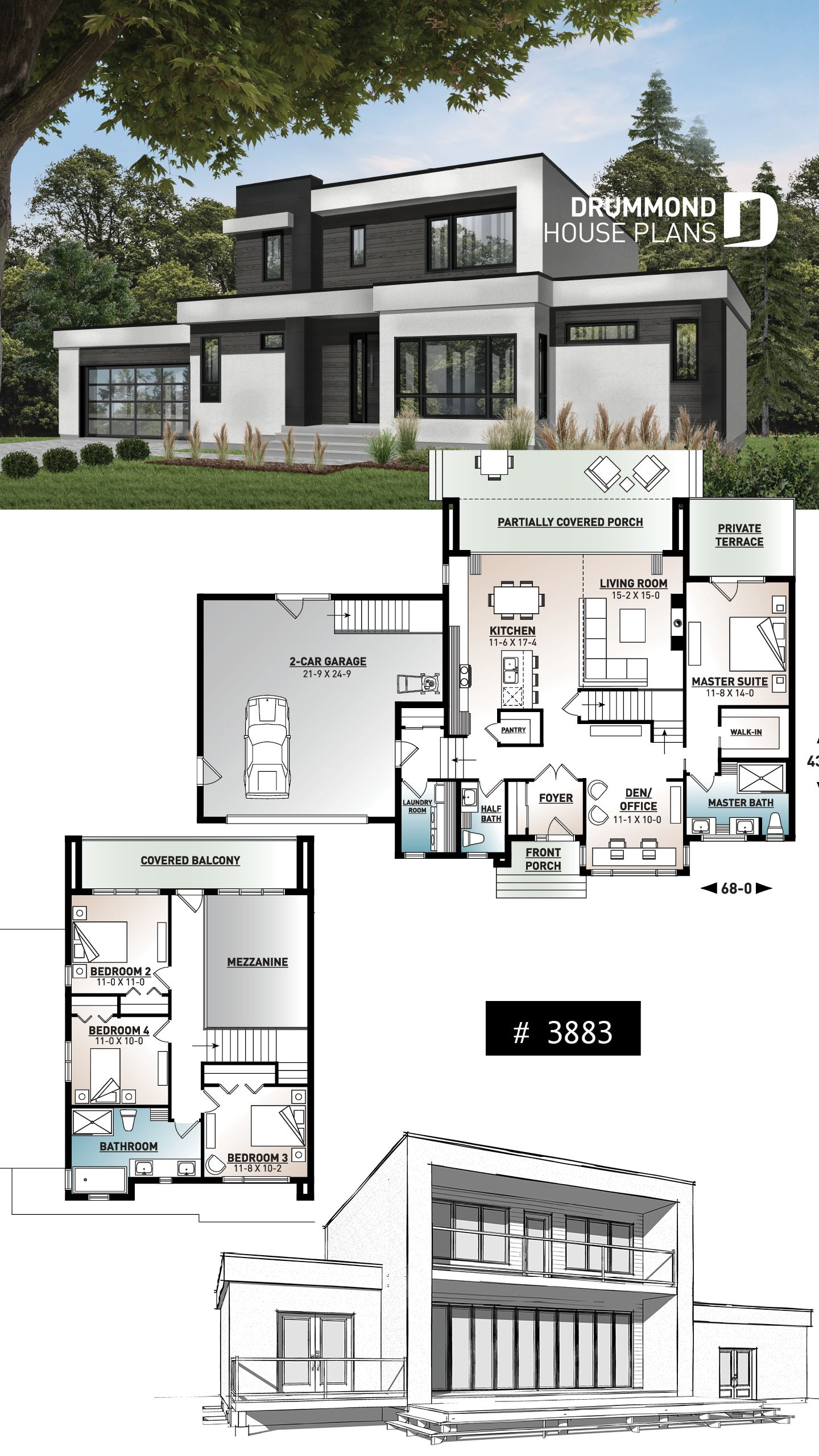 Discover The Plan 3883 Essex Which Will Please You For Its 4 Bedrooms And For Its Contemporary Styles Modern Style House Plans Modern Architecture House Bungalow House Design