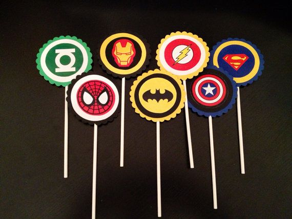 Superhero Cupcake Toppers by sewcustom83 on Etsy, $10.00