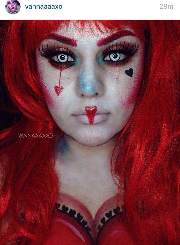Creepy Queen Of Hearts Queen Of Hearts Makeup Halloween Costumes Makeup Queen Of Hearts Costume