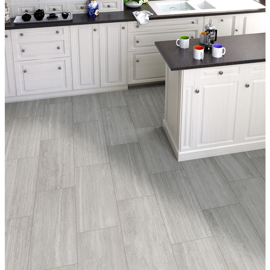 shop style selections ridgemont silver porcelain floor and wall tile common x actual
