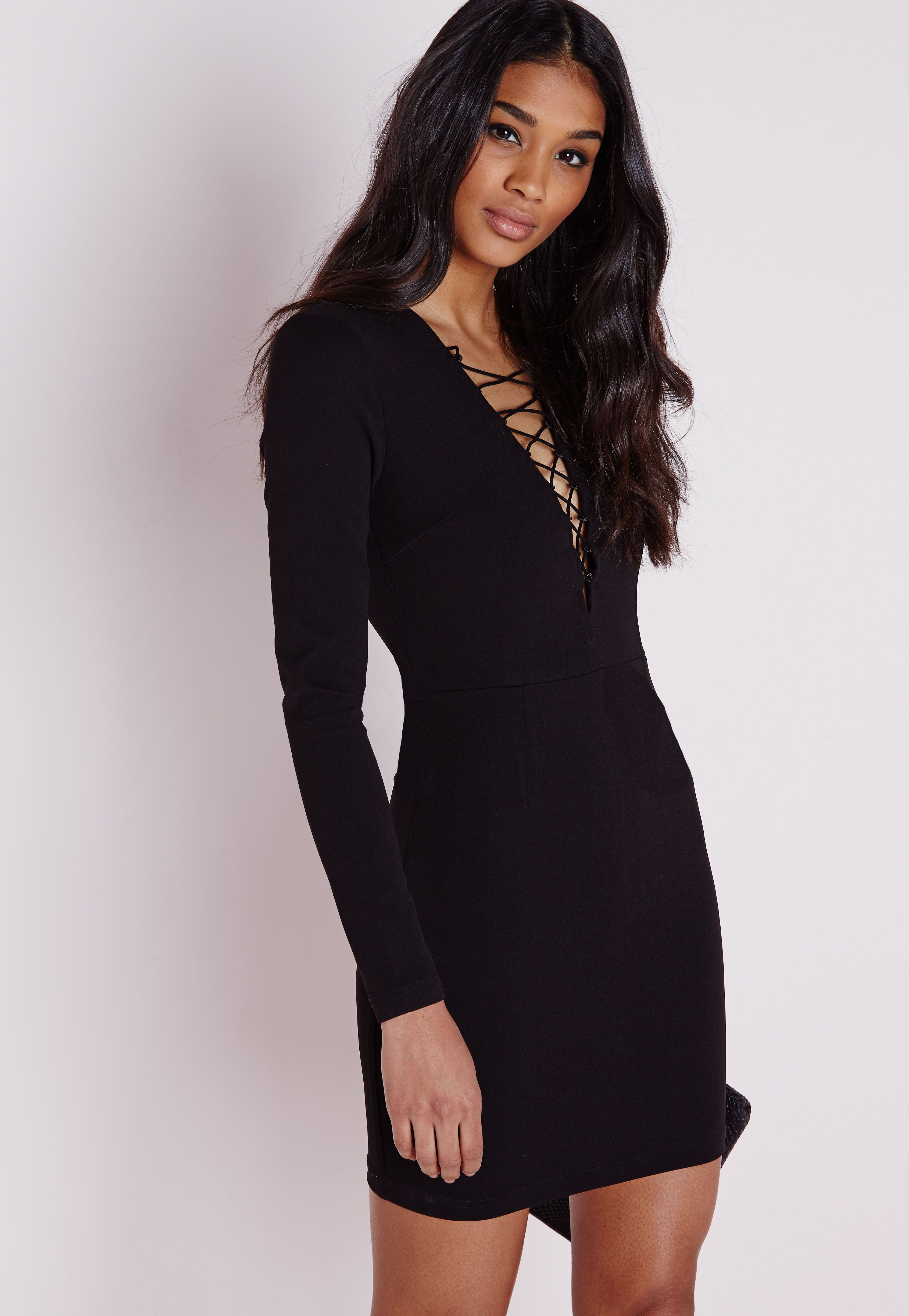 Lace up front dress long sleeve
