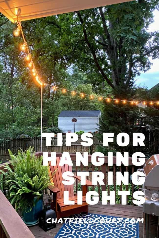 Tips for hanging string lights around a backyard deck using electrical tubing and wire rope. An easy and inexpensive project that transformed a small outdoor space in about 20 minutes.