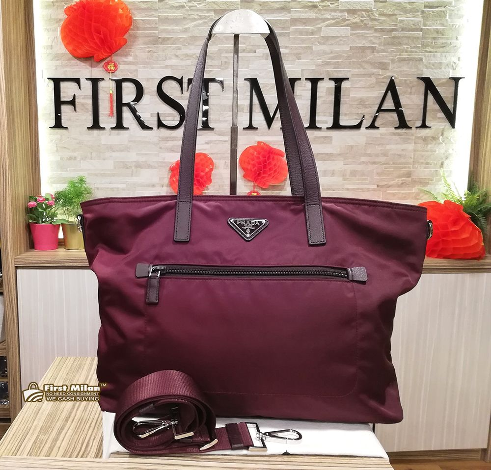 63f4271e96 PRADA Tessuto Nylon Burgundy Two-way Bag (W O Card) Price RM1