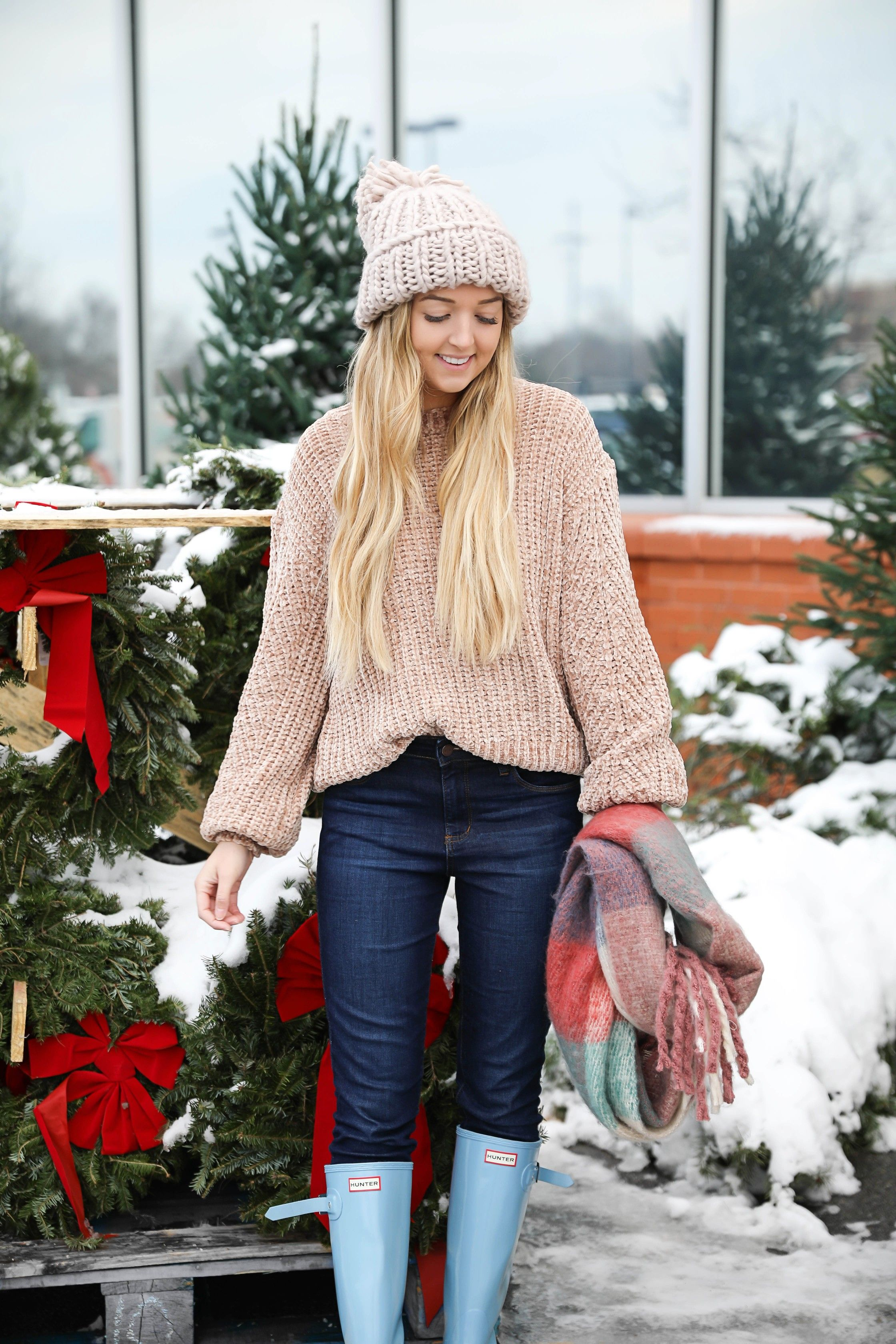 7e507177a4a The cutest winter look! I am wearing this super cozy knit beanie ...
