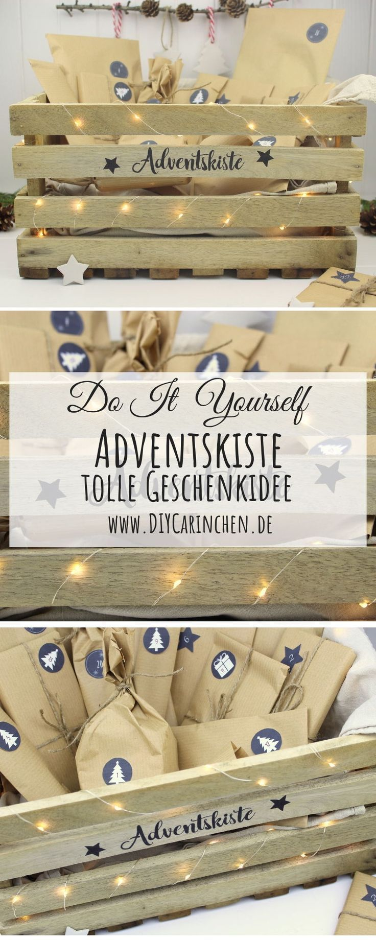 DIY – Adventskiste, Adventskalender in einer Kiste selber machen - https://pickndecor.com/haus #julepyntinspiration