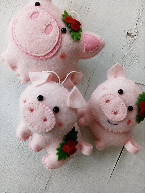 Felt Pig Christmas Decoration Christmas Felt Ornament Pig