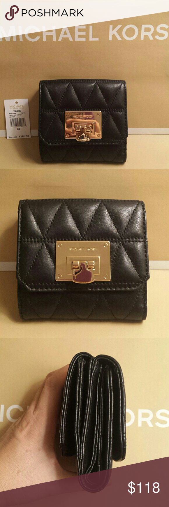 4e27695c6c24 Michael Kors Vivianne Trifold Quilted Wallet NWT Brand New with tag! Michael  Kors Vivianne Trifold Coin Case Wallet Black Leather This quilted black  leather ...