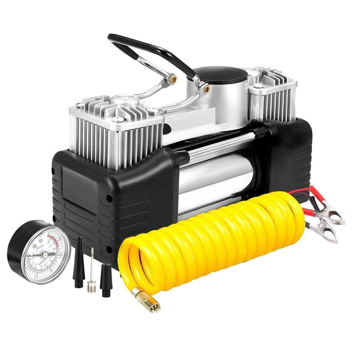 12V 150PSI Portable Heavy Duty Dual Cylinder Air Pump Air
