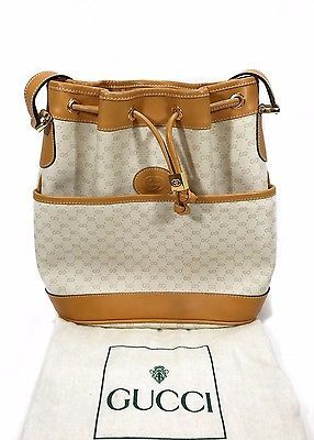 RARE-VINTAGE-Gucci-GG-Monogram-Drawstring-Bucket-Shoulder-Bag-100-Authentic ef5772e684af