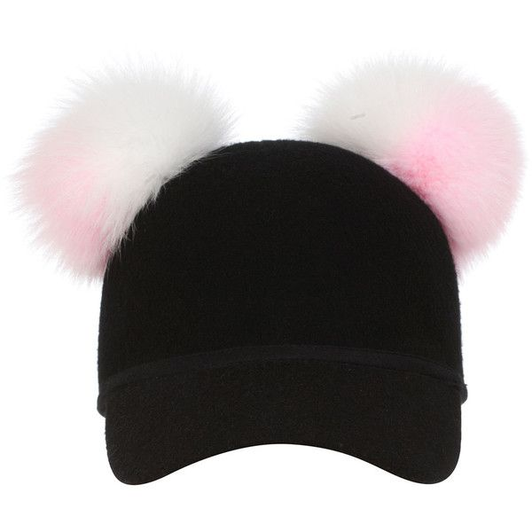 2fd8b81cc2a Charlotte Simone Sass Baseball Cap w  Two-Tone Fur Pom-Poms ( 220) ❤ liked  on Polyvore featuring accessories