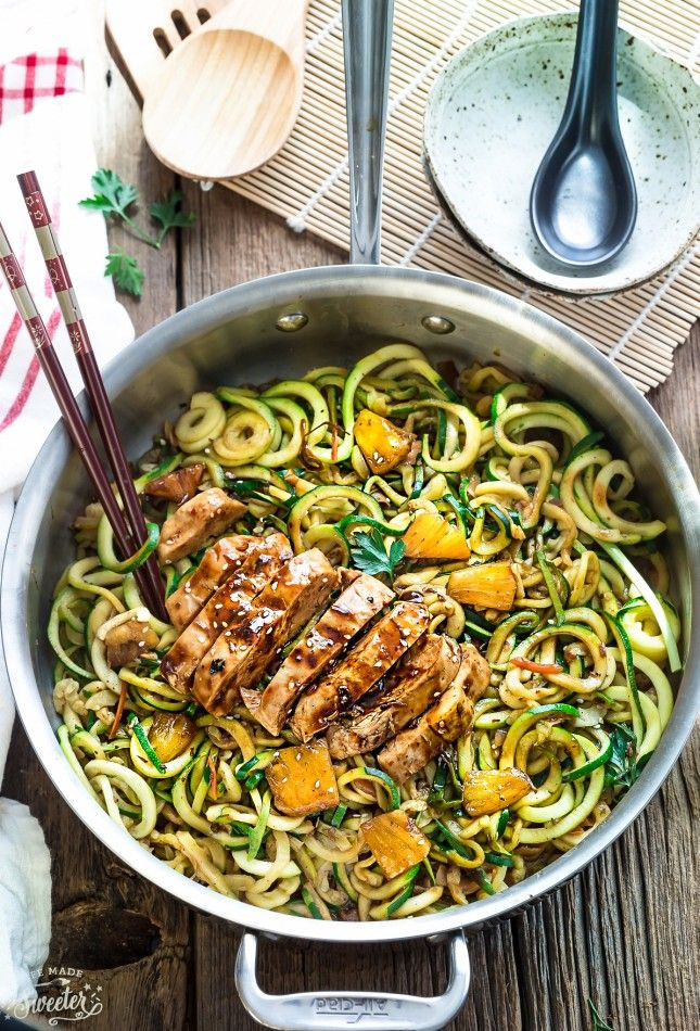 One Pot Teriyaki Chicken Zoodles Zucchini Noodles Make The Perfect Easy Low Carb Gluten Free Or Zoodle Recipes Paleo Recipes Lunch Zucchini Noodle Recipes