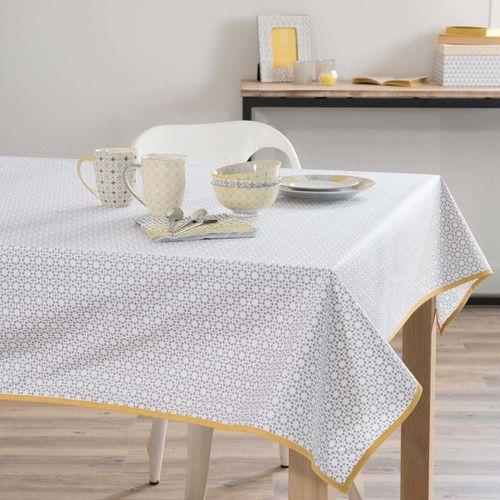 Nappe Enduite En Coton Grise Jaune 140 X 180 Cm Maisons Du Monde Gris Jaune Nappe Mobilier De Salon