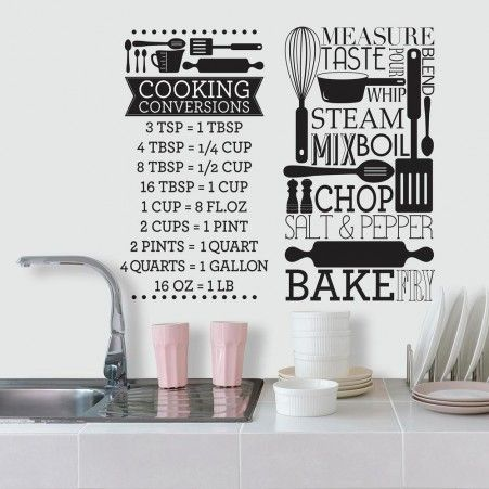 cooking conversions wall decals kitchen wall decals on wall stickers for kitchen id=13153