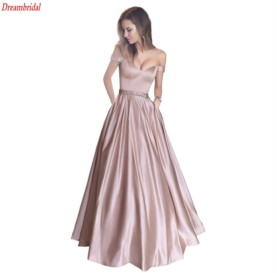 Off The Shoulder Beaded Satin Evening Prom Dress With Pocket ...