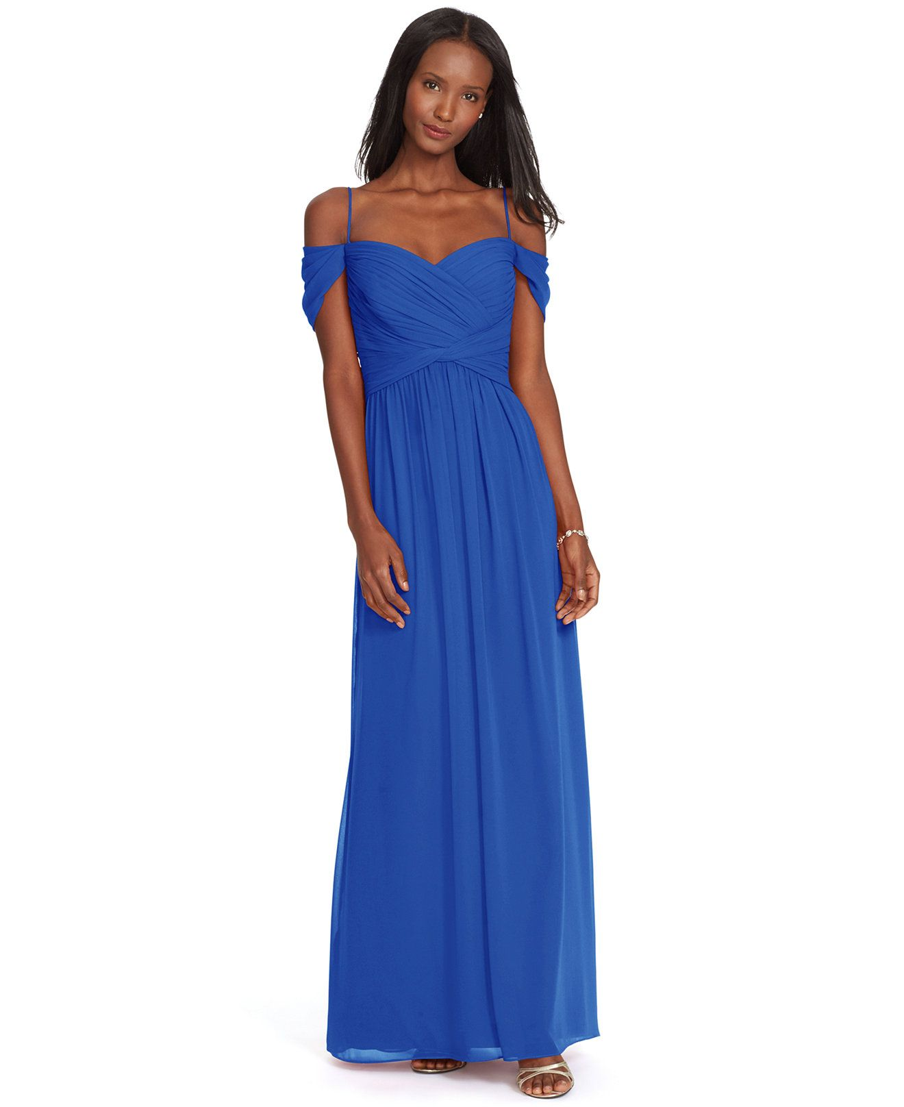 140 lauren ralph lauren off the shoulder georgette gown dresses lauren ralph lauren off the shoulder georgette gown dresses women macys ombrellifo Images