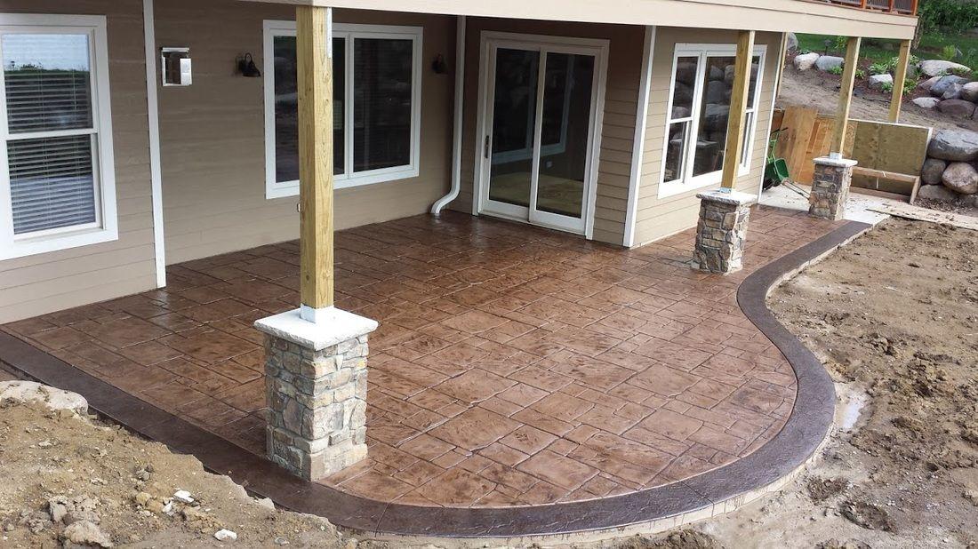 Stamped Concrete English Yorkstone Concrete Patio Border Slate
