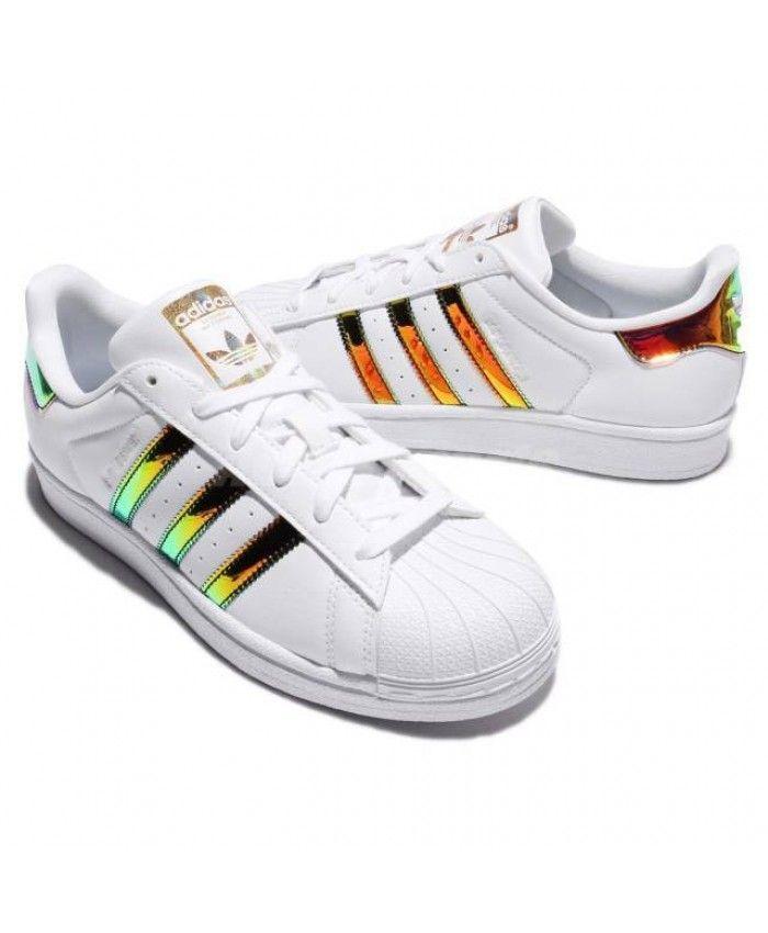 ca3648e3148f57 Adidas Superstar Iridescent Hologram Gold Stripes Trainer