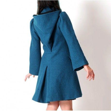 Bleu Laine Manteau Hiver Original Pétrole Femme Couture UanIwqg1