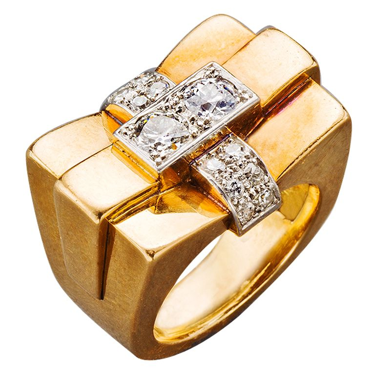 French Diamond Gold Ring 1940s at 1stdibs