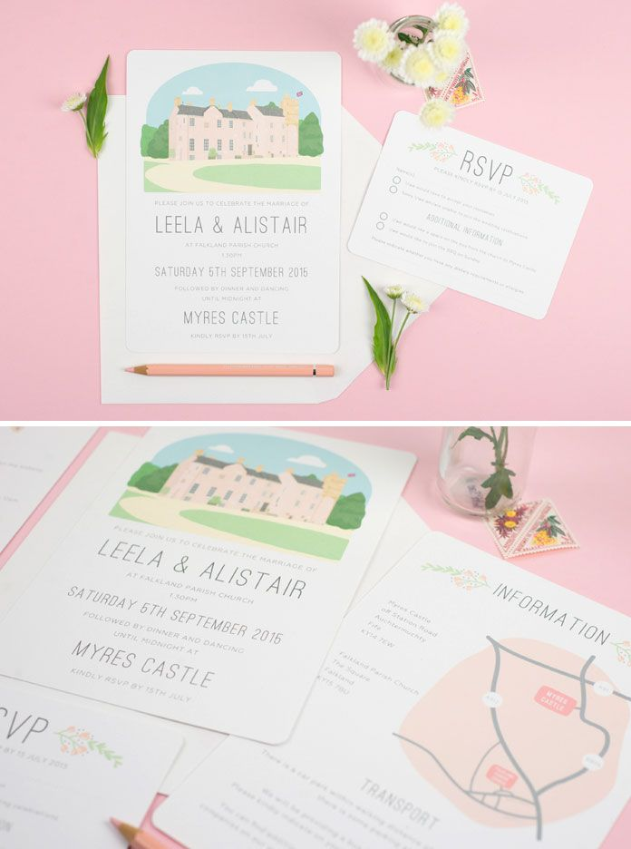 Wedding Invitation with illustrated venue portrait of Myres Castle ...