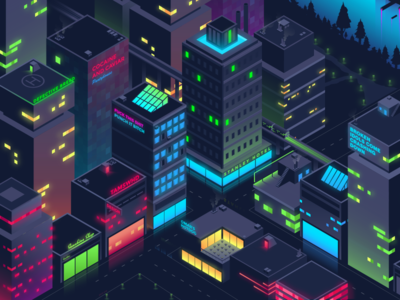 Isometric City Cyberpunk City Vector City Illustration Isometric