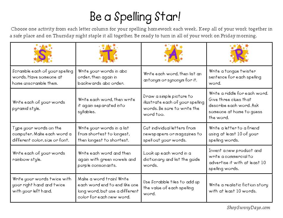 Spelling Bingo Spelling Homework Spelling Activities