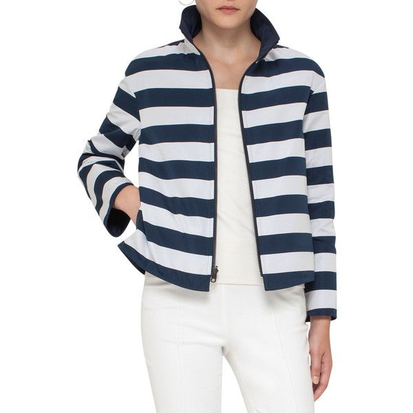 Akris Punto Striped Stand-Collar Jacket ($1,390) ❤ liked on Polyvore featuring outerwear, jackets, women's apparel jackets, long sleeve jacket, stand collar jacket, pocket jacket, akris punto jacket and akris punto