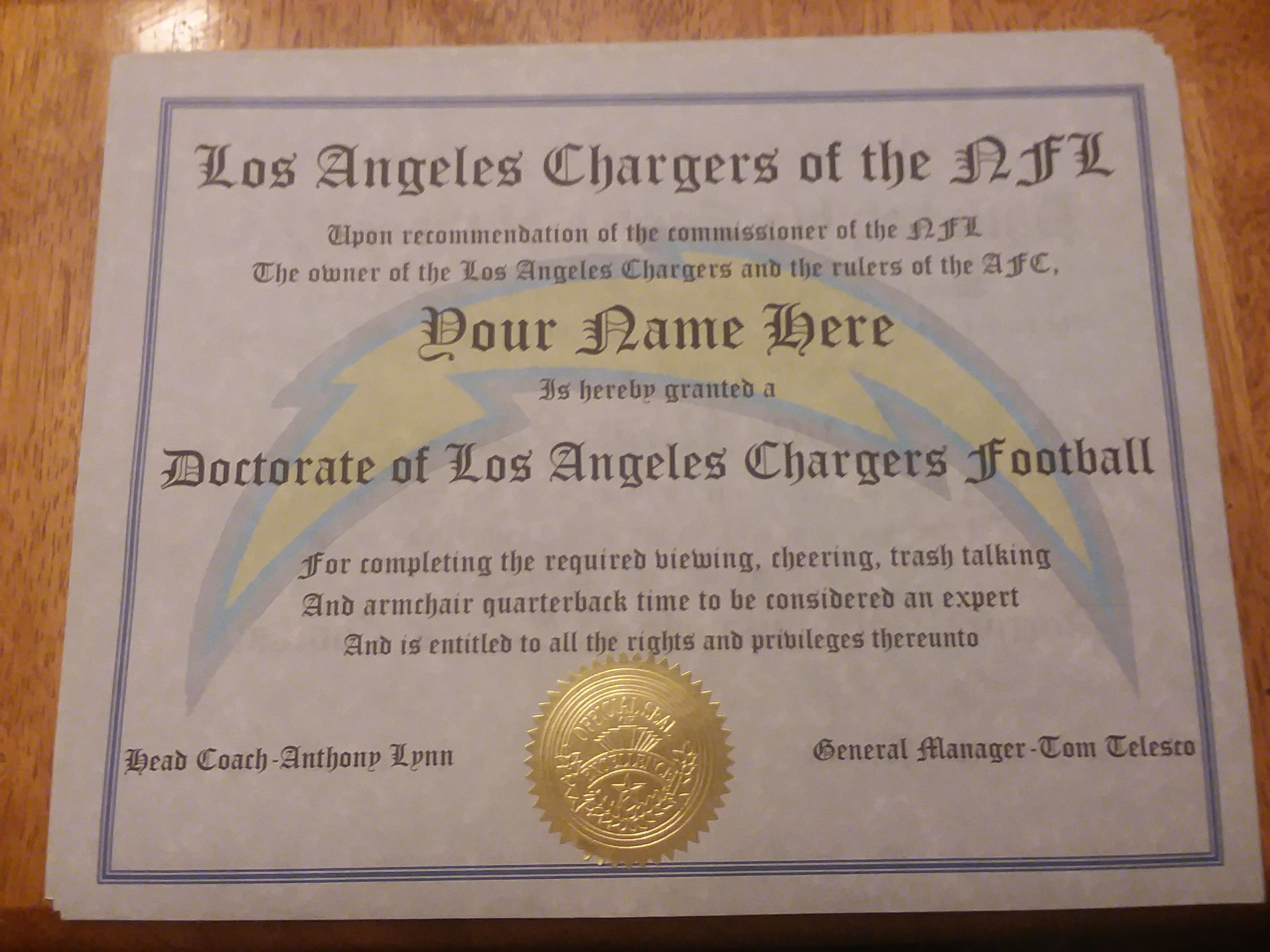 Los Angeles Chargers Football Doctorate Certificate Chargers Football Unique Items Products Los Angeles Chargers