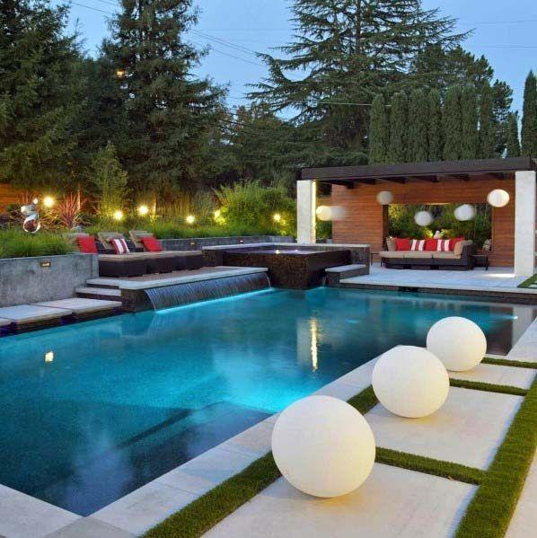 40 Amazing Pool Waterfall Ideas For Your Inspiration Pools Backyard Inground Backyard Pool Landscaping Pool Waterfall