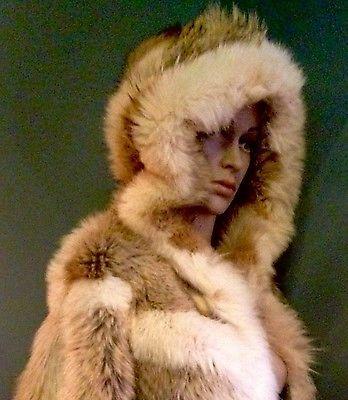 M-L-Unisex-Real-Fur-COYOTE-Fox-Anaorak-Parka-Stroller-Hood-Jacket-Coat-Vintage
