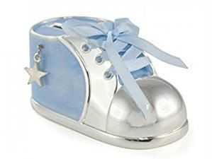 Silver Plated Christening New Baby Gift Moneybox Bootee Money Bank