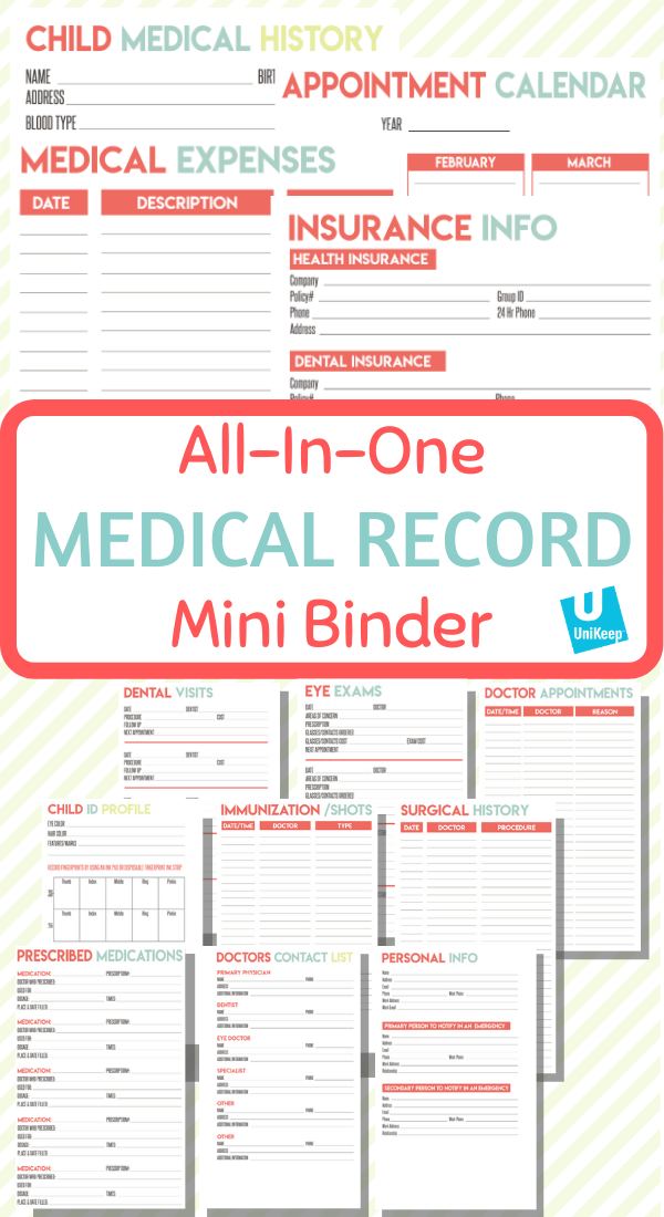 Family Medical Record Keeper With Images Medical Binder