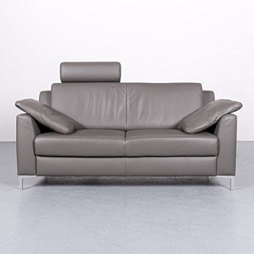 Mondo Motion By Ewald Schillig Leder Sofa Grau Zweisitzer Couch Echtleder  #6364