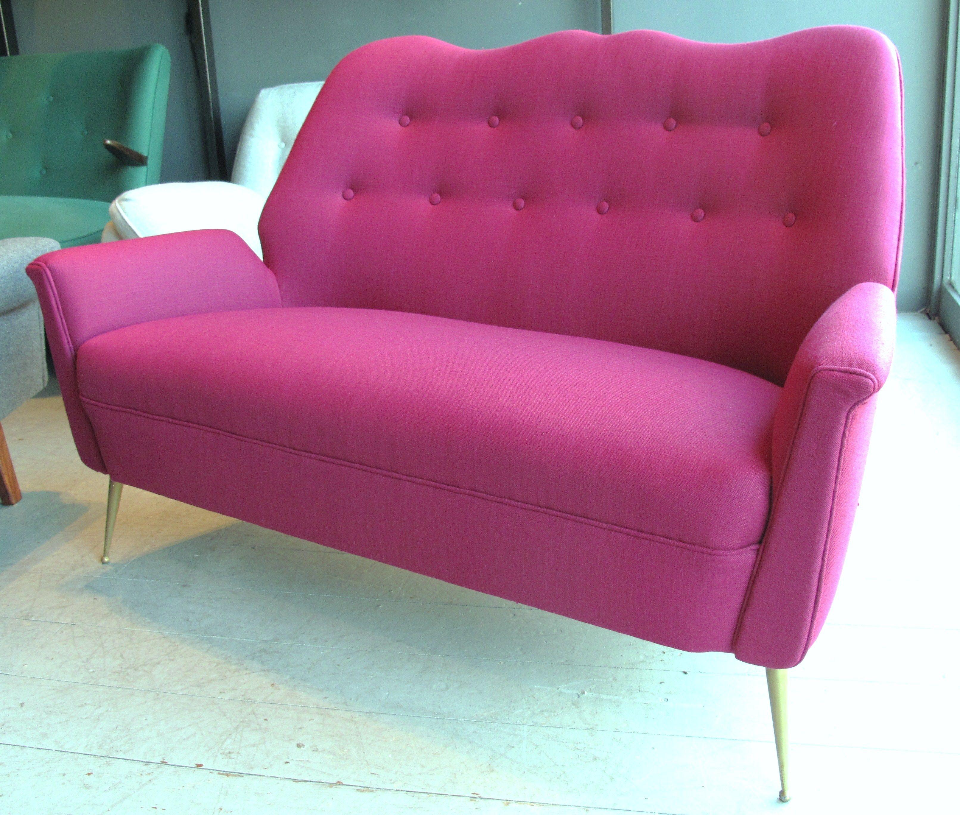 Italian 1950's Small Sofa With Brass Legs.