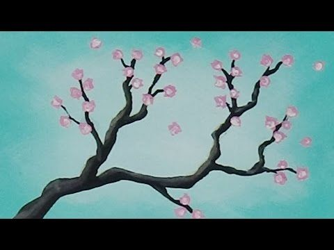 Mini Acrylic Painting Cherry Blossom Branch Speed Painting Follow Me Youtube Https Ww Cherry Blossom Painting Kids Canvas Painting Acrylic Painting Trees