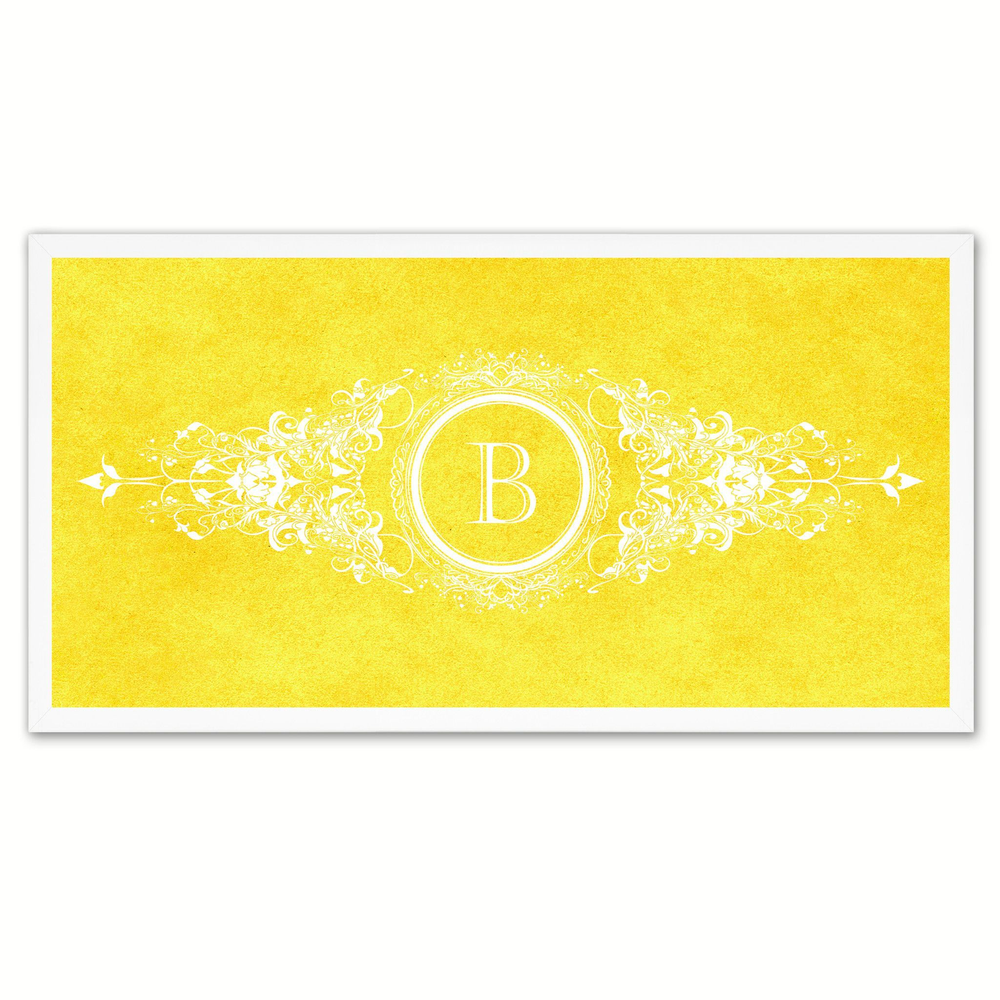 Alphabet Letter B Yellow Canvas Print White Frame Kids Bedroom Wall ...